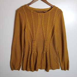 Cupio Cable Knit Mustard Sweater